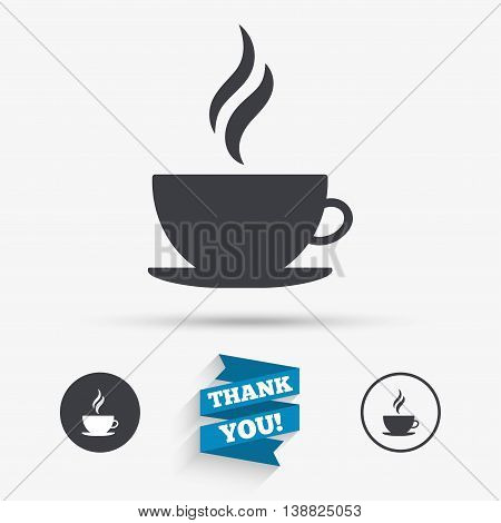 Coffee cup sign icon. Hot coffee button. Hot tea drink with steam. Flat icons. Buttons with icons. Thank you ribbon. Vector