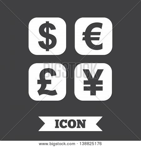 Currency exchange sign icon. Currency converter symbol. Money label. Graphic design element. Flat currency exchange symbol on dark background. Vector