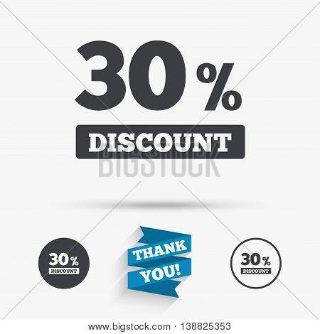 30 percent discount sign icon. Sale symbol. Special offer label. Flat icons. Buttons with icons. Thank you ribbon. Vector