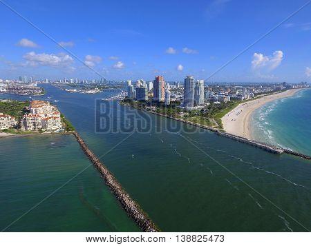 Government Cut Miami Beach Florida shot with a drone