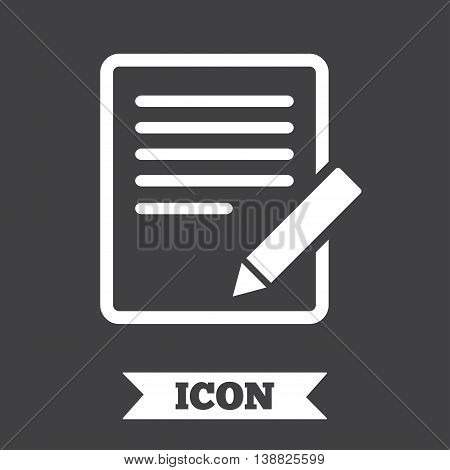 Edit document sign icon. Edit content button. Graphic design element. Flat edit symbol on dark background. Vector