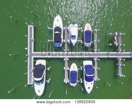 Aerial image of boats at a marina