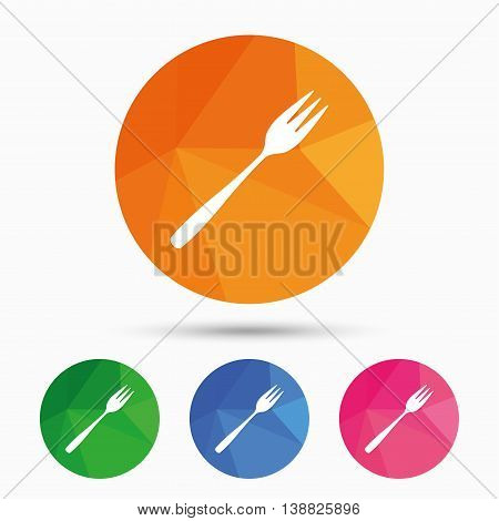 Eat sign icon. Cutlery symbol. Diagonal dessert trident fork. Triangular low poly button with flat icon. Vector