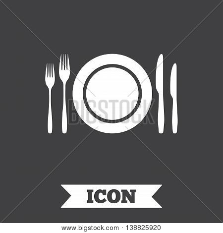 Plate dish with forks and knifes. Eat sign icon. Cutlery etiquette rules symbol. Graphic design element. Flat cutlery symbol on dark background. Vector