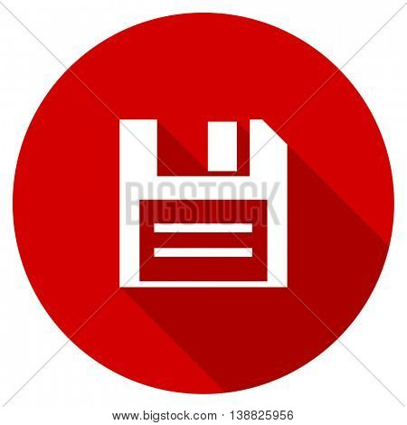 disk vector icon, red modern flat design web element