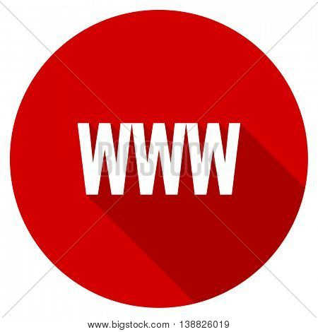 www vector icon, red modern flat design web element