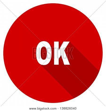ok vector icon, red modern flat design web element