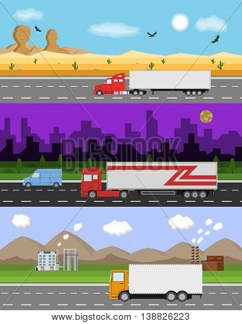 Set of three delivery and logistics images. Truck on the road. Heavy trailer truck in the flat style. Delivery concept. Vector illustration.
