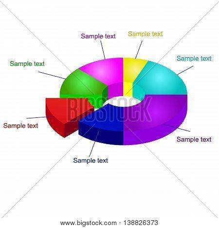 3D Pie Chart Vector Graphics. Pie Graph Element.