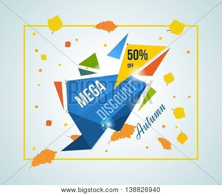 Autumn Super Sale banner on colorful background. Autumn discounts. Special offer. Geometric design. Modern Flyer and Poster. Vector illustration.