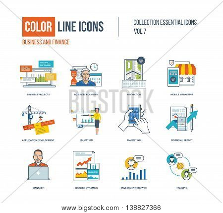 Color thin Line icons set. Business project and planning, mobile marketing, application development, online education, financial report, investment growth, training. Colorful logo and pictograms