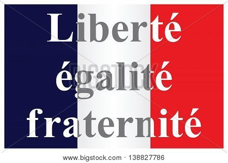 The French Republic flag text translation liberty equality fraternity isolated on white background