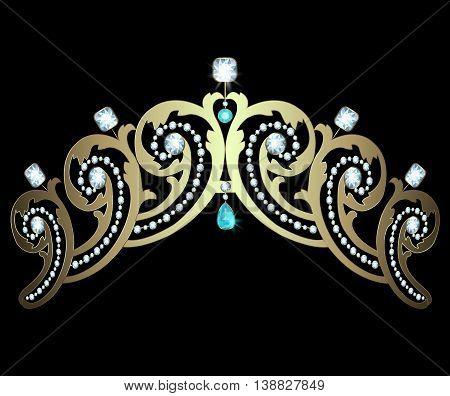 Gold diadem decorated with diamonds and aquamarines