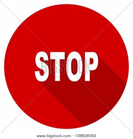 stop vector icon, red modern flat design web element