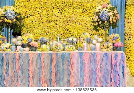 Many bouquets on the table