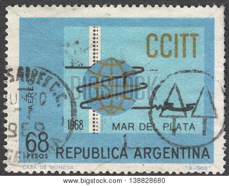 MOSCOW RUSSIA - CIRCA JANUARY 2016: a post stamp printed in ARGENTINA devoted to the 4th Plenary Assembly of International Telegraph and Telephone Consultative Committee Mar del Plata circa 1968