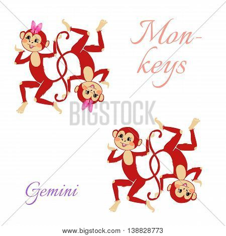 Funny Horoscope With Cute Monkeys. Zodiac Signs. Gemini. Vector Illustration.