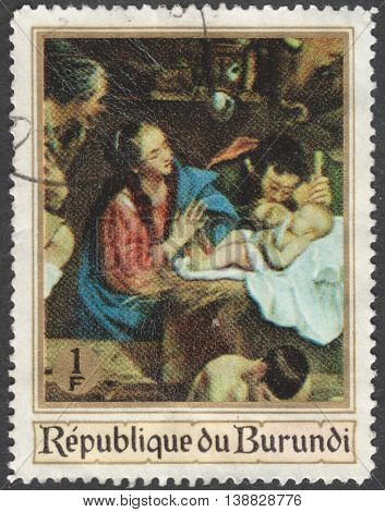 MOSCOW RUSSIA - CIRCA JANUARY 2016: a post stamp printed in BURUNDI shows painting