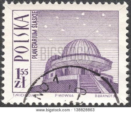 MOSCOW RUSSIA - CIRCA JANUARY 2016: a post stamp printed in POLAND shows a planetarium Katowice the series