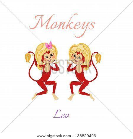 Funny Horoscope With Cute Monkeys. Zodiac Signs. Leo. Vector Illustration.