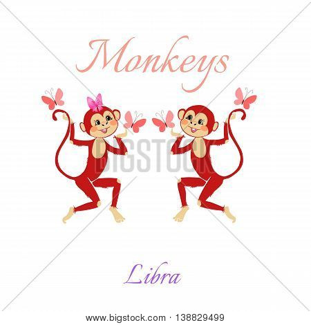 Funny Horoscope With Cute Monkeys. Zodiac Signs. Libra. Vector Illustration.