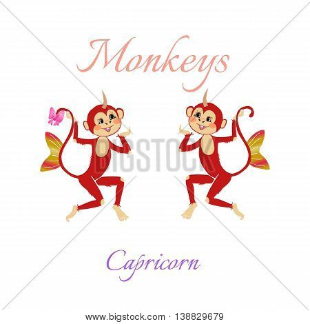 Funny Horoscope With Cute Monkeys. Zodiac Signs. Capricorn. Vector Illustration.