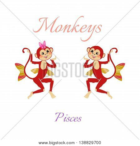 Funny horoscope with cute monkeys. Zodiac signs. Pisces. Vector illustration.