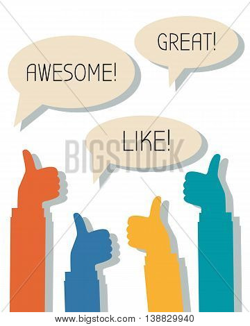 Many thumbs up and words Awesome, Great, Like in thought bubbles, feedback, social network concept
