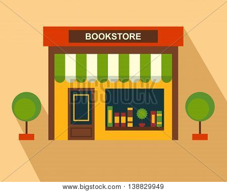 Books Store building, storefront. Thin line art, web design element