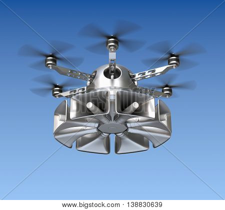 Drone with loudspeaker warning system on sky background - 3D illustration