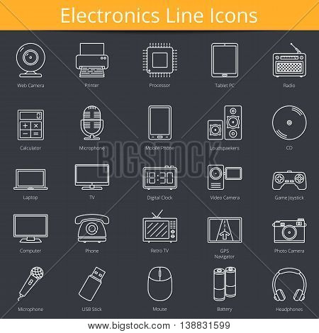 25 Electronics line icons, vector eps10 illustration