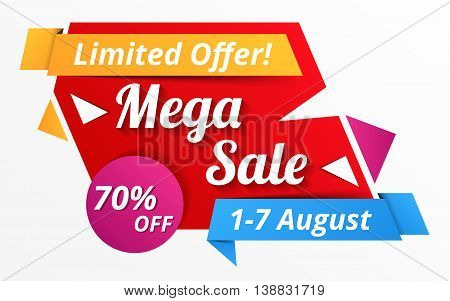 Limited offer mega sale banner, advertisement, promotion design, vector eps10 illustration
