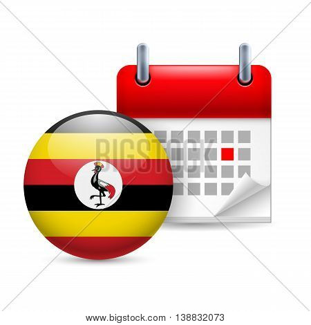 Calendar and round Ugandan flag icon. National holiday in Uganda