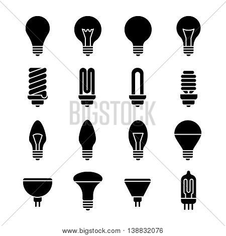 Electricity lamp signs. Light bulb and led lamp vector icons