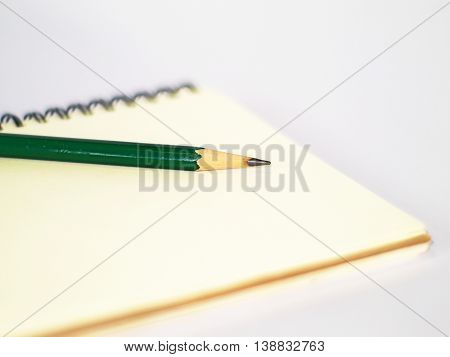 green pencil on a plain ring binder notebook, side view