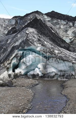 Solheimajokull glacier in South Iceland. Solheimajokull glacier is one of the biggest glaciers in Europe.