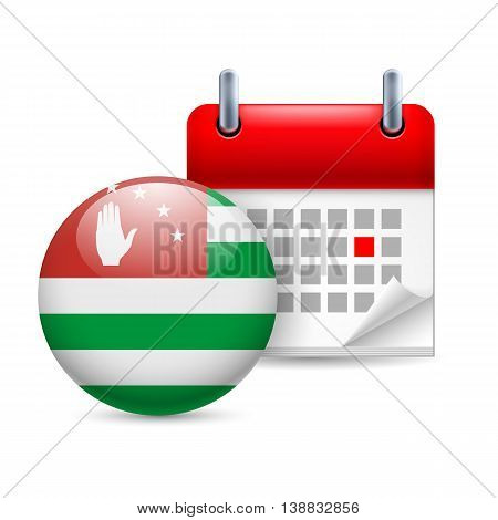 Calendar and round Abkhazian flag icon. National holiday in Abkhazia