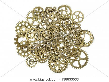 Vintage brass gears macro isolated on white.