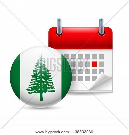 Calendar and round flag icon. National holiday on Norfolk Island