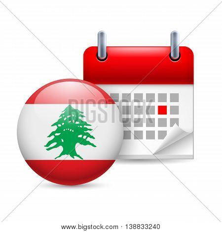 Calendar and round Lebanese flag icon. National holiday in Lebanon