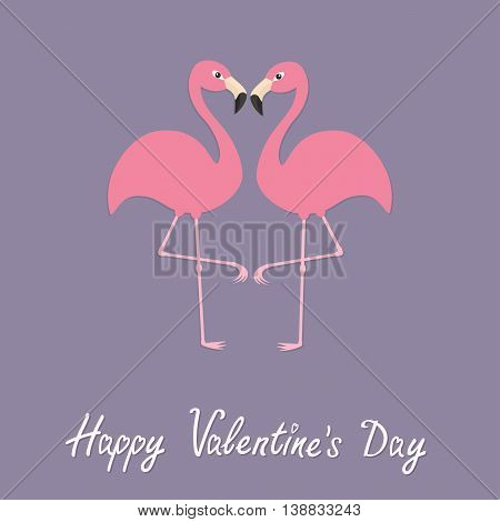 Flamingo couple neck heart shape. Exotic tropical bird. Zoo animal collection. Cute cartoon character. Happy Valentines day. Love greeting card. Decoration Flat Violet background. Vector illustration