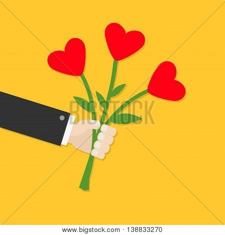 Businessman cartoon character hand holding bunch bouquet of heart flowers. Yellow background. Flat design. Vector illustration
