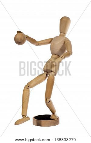 Wooden figurine man hinged on a white background