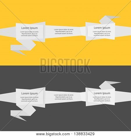 Three step Timeline infographic ribbon. Origami paper banner set. Abstract geometric price tag sticker. Yellow and black background. Isolated. Flat meterial design style. Vector illustration
