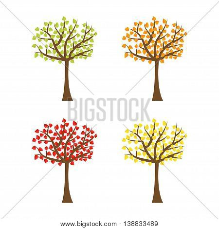 Tree set with different color leaves. Trunk silhouette. Deciduous tree in summer autumn spring season. White background. Isolated. Flat design. Vector illustration