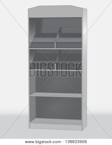 Sales shelf cabinet gray on a white background Isometric