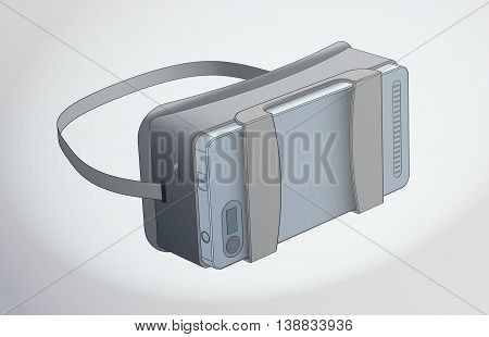 virtual reality glasses with a telephone new sample vector drawing isometrics