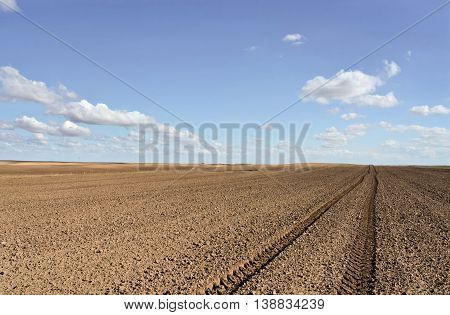 European tilled field and tractor's tracks in early spring.