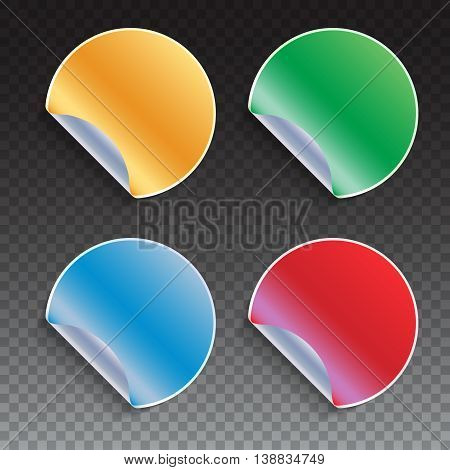 Collection of colored curled sticky stickers - red, blue, yellow, green. Vector illustration template for your design on white background.
