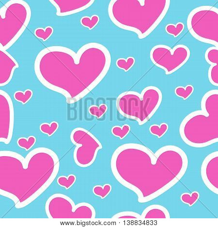 Pink hearts on blue- seamless vector pattern